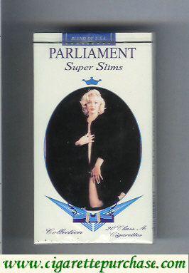 Discount Parliament Super Slims design with Marlin Monro 100s soft box cigarettes