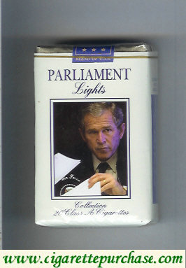 Discount Parliament design with George Bush Lights cigarettes soft box