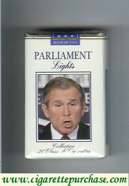 Discount Parliament design with George Bush Lights soft box cigarettes