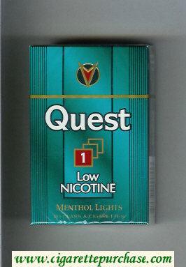 Discount Quest 1 Low Nicotine Menthol Lights cigarettes hard box