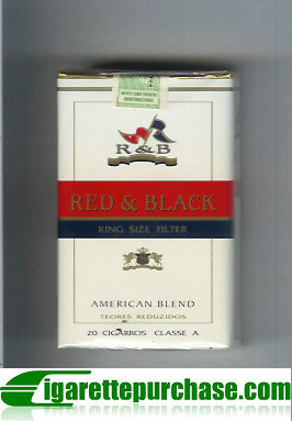 R and B Red and Black American Blend cigarettes soft box