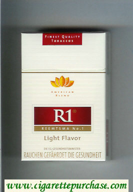 R1 Reemtsma No 1 Light Flavor American Blend cigarettes hard box