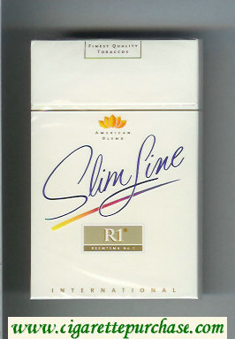 R1 Reemtsma No 1 Slim Line International American Blend flat 100s cigarettes hard box