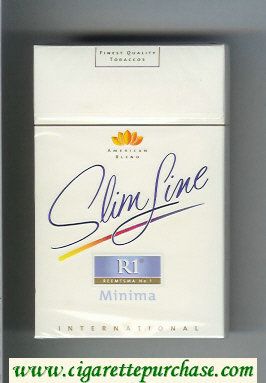 R1 Reemtsma No 1 Slim Line Minima International American Blend flat 100s cigarettes hard box