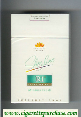 R1 Reemtsma No 1 Slim Line Minima Fresh International American Blend flat 100s cigarettes hard box