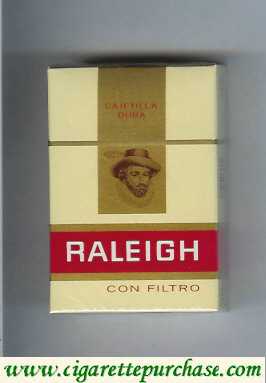 Raleigh Con Filtro cigarettes yellow and red and gold hard box