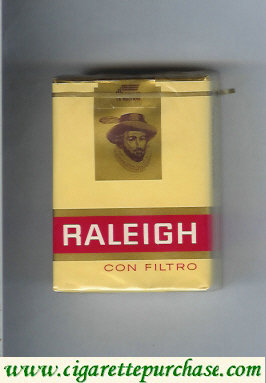 Raleigh Con Filtro cigarettes yellow and red and gold soft box