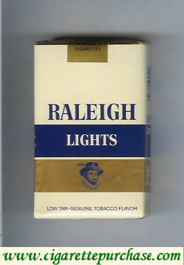 Raleigh Lights cigarettes white and gold and blue soft box
