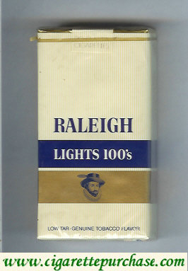 Raleigh Lights 100s cigarettes white and gold and blue soft box