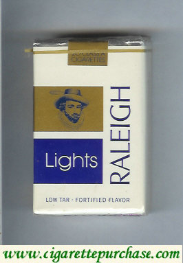 Raleigh Lights cigarettes white and blue and gold soft box