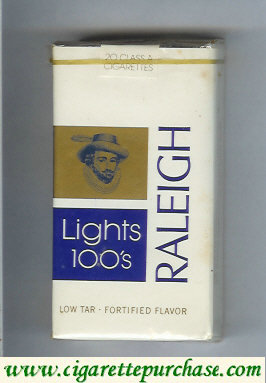 Raleigh Lights 100s cigarettes white and blue and gold soft box