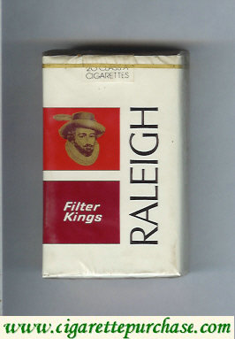 Raleigh Filter Kings cigarettes white and red and brown soft box