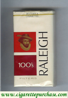 Raleigh 100s Filters cigarettes white and red and brown soft box