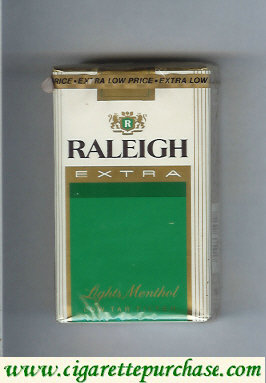 Raleigh Extra Lights Menthol cigarettes soft box