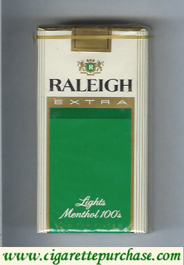 Raleigh Extra Lights Menthol 100s cigarettes soft box