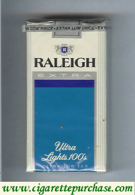 Raleigh Extra Ultra Lights 100s cigarettes soft box
