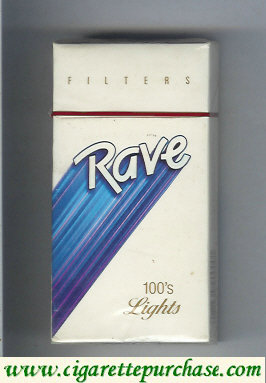 Discount Rave Filters Lights 100s cigarettes hard box