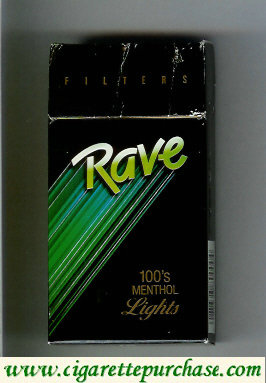 Discount Rave Filters Menthol Lights 100s cigarettes hard box