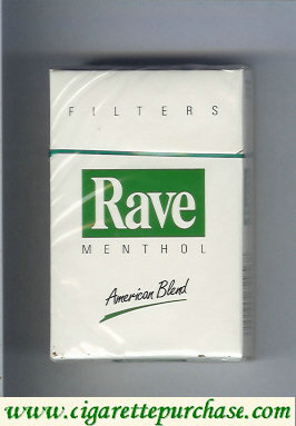 Discount Rave Menthol Filters American Blend cigarettes hard box