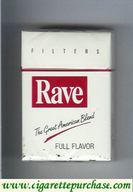 Discount Rave Full Flavor Filters The Great American Blend cigarettes hard box