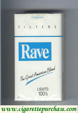 Discount Rave Lights 100s Filters The Great American Blend cigarettes soft box