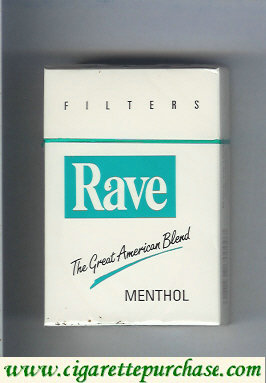 Discount Rave Menthol Filters The Great American Blend cigarettes hard box