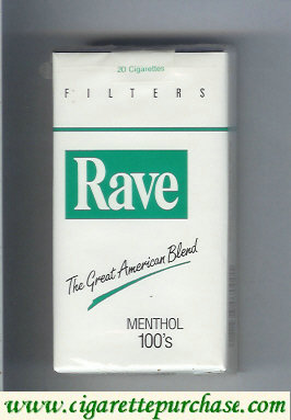 Discount Rave Menthol 100s Filters The Great American Blend cigarettes soft box