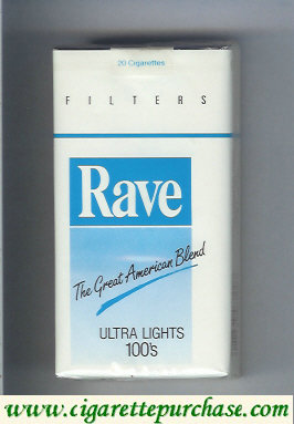 Discount Rave Ultra Lights 100s Filters The Great American Blend cigarettes soft box