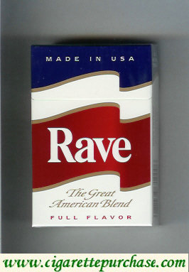 Discount Rave Full Flavor The Great American Blend cigarettes hard box