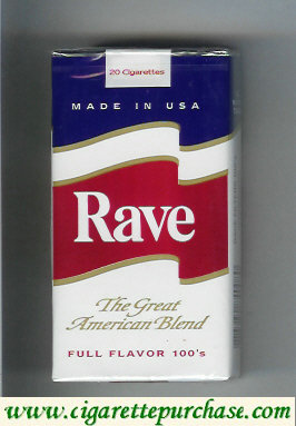 Discount Rave Full Flavor 100s The Great American Blend cigarettes soft box