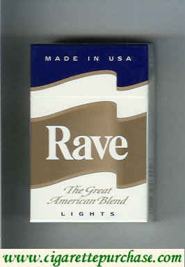 Discount Rave Lights The Great American Blend cigarettes hard box