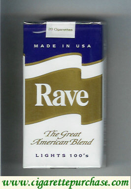 Discount Rave Lights 100s The Great American Blend cigarettes soft box