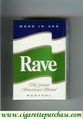 Discount Rave Menthol The Great American Blend cigarettes hard box