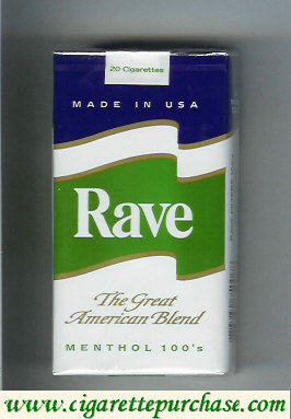 Discount Rave Menthol 100s The Great American Blend cigarettes soft box