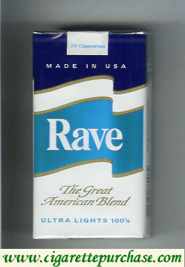 Discount Rave Ultra Lights 100s The Great American Blend cigarettes soft box