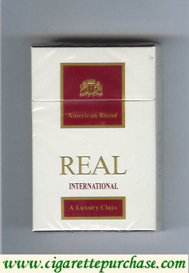 Real International American Blend cigarettes hard box