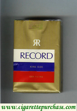 Record Con Filtro cigarettes gold and white and blue and red soft box