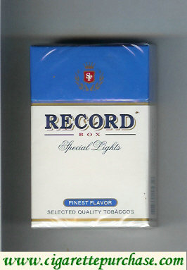 Record Special Lights Finest Flavor cigarettes hard box