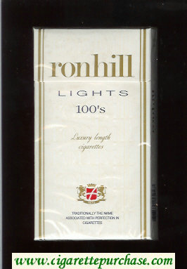 Ronhill Lights 100s cigarettes white hard box