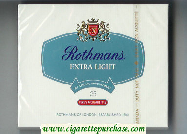 Rothmans Extra Light By Special Appointment 25 cigarettes wide flat hard box