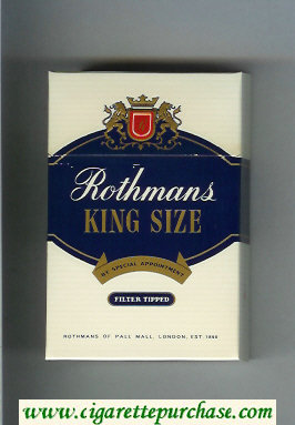 Discount Rothmans King Size Filter Tipped By Special Appointment cigarettes hard box