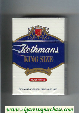 Rothmans King Size Filter Tipped By Special Appointment hard box cigarettes