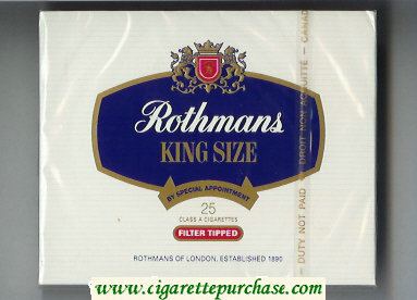 Rothmans King Size Filter Tipped By Special Appointment 25 cigarettes wide flat hard box