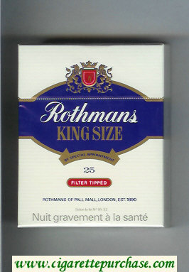 Rothmans King Size Filter Tipped By Special Appointment 25 cigarettes hard box