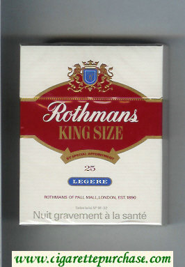 Rothmans Legere By Special Appointment 25 cigarettes hard box