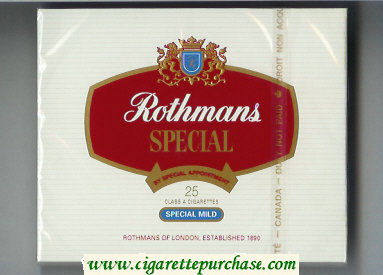 Discount Rothmans Special Mild By Special Appointment 25 cigarettes wide flat hard box
