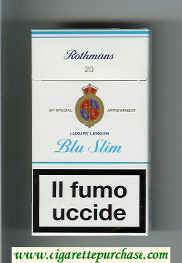 Rothmans Blue Slim Luxery Length 100s cigarettes hard box