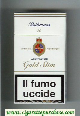 Discount Rothmans Gold Slim Luxery Length 100s cigarettes hard box