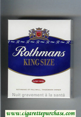 Discount Rothmans King Size Filter Tipped By Special Appointment 25 cigarettes hard box