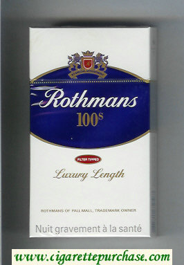 Discount Rothmans 100s Filter Tipped By Special Appointment cigarettes hard box